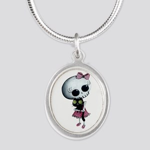 Little Miss Death With Black Silver Oval Necklace