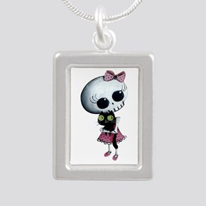 Little Miss Death With Silver Portrait Necklace