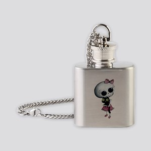 Little Miss Death with black cat Flask Necklace