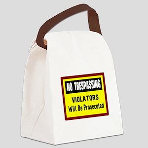 No Trespassing Canvas Lunch Bag
