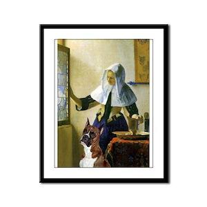 Woman & Boxer Framed Panel Print