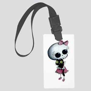 Little Miss Death With Black Cat Large Luggage Tag