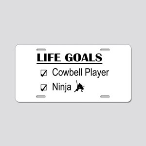 Cowbell Player Ninja Life G Aluminum License Plate