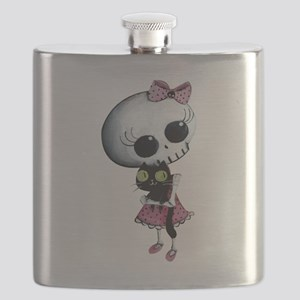 Little Miss Death with black cat Flask
