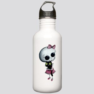 Little Miss Death with black cat Water Bottle