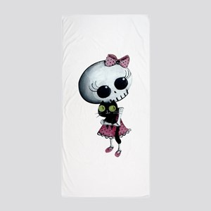 Little Miss Death with black cat Beach Towel