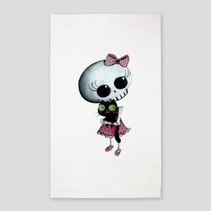 Little Miss Death with black cat 3'x5' Area Rug