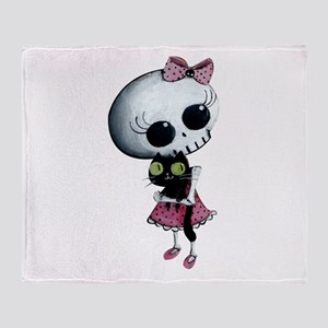 Little Miss Death With Black Cat Throw Blanket
