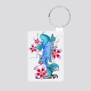 Blue Koi Fish Aluminum Photo Keychain