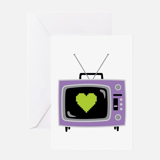 Pixel Heart Television Greeting Cards