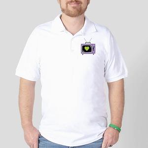Pixel Heart Television Golf Shirt