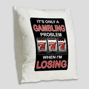 GAMBLING Burlap Throw Pillow