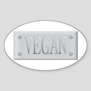 Vegan Steel Plate Oval Sticker