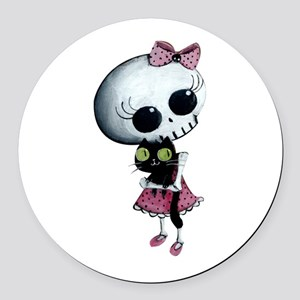 Little Miss Death With Black Cat Round Car Magnet