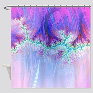 fractal duocolor pink Shower Curtain