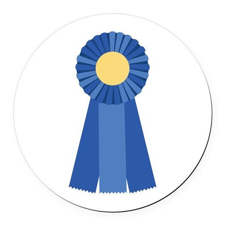 First Place Blue Ribbon Round Car Magnet