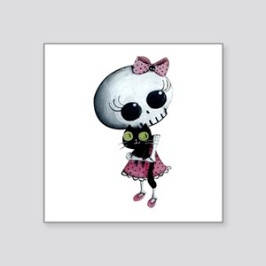 "Little Miss Death With Square Sticker 3"" X 3"""
