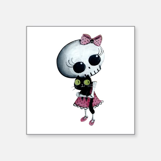 """Little Miss Death With Square Sticker 3"""" X 3"""""""