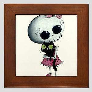 Little Miss Death with black cat Framed Tile