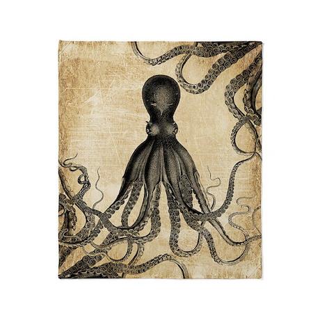 Vintage Octopus Throw Blanket & Tentacle Gifts - CafePress