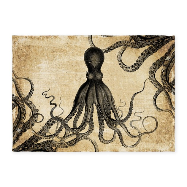 Vintage Octopus 5 X7 Area Rug By Oph3lia