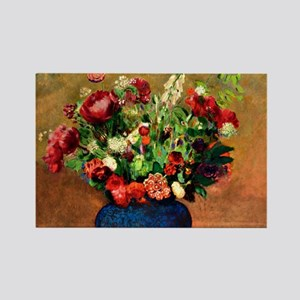 Poppies and Sweet William in Blue Rectangle Magnet