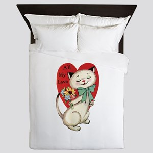 Cute Vintage Cartoon Cat for Valentines Day Queen