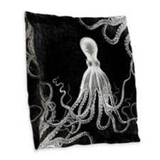 Vintage Octopus Dark Burlap Throw Pillow