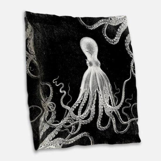 Vintage Octopus Dark Burlap Throw Pillow
