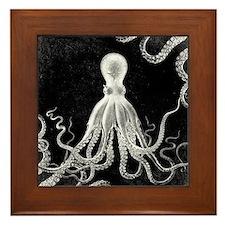 Vintage Octopus Dark Framed Tile