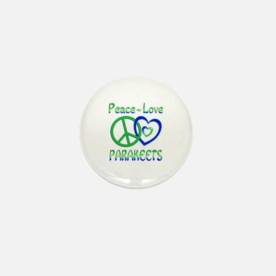 Peace Love Parakeets Mini Button