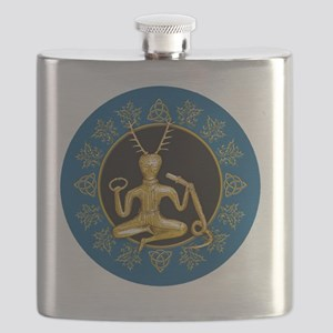 Gold Cernunnos With Snake in Circle- 12 Flask