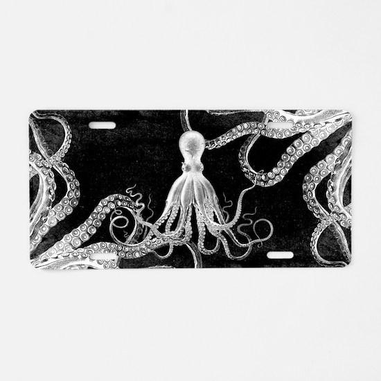 Vintage Octopus Dark Aluminum License Plate