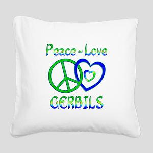 Peace Love Gerbils Square Canvas Pillow