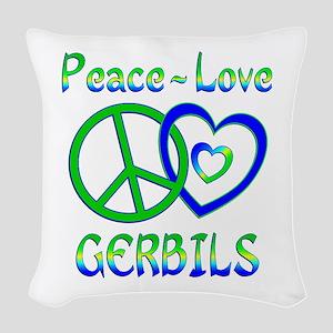 Peace Love Gerbils Woven Throw Pillow
