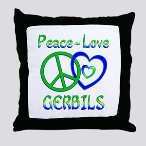 Peace Love Gerbils Throw Pillow