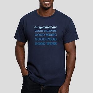 Good Friends Food Wine Men's Fitted T-Shirt (dark)