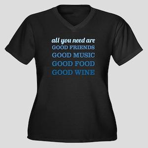 Good Friends Women's Plus Size V-Neck Dark T-Shirt