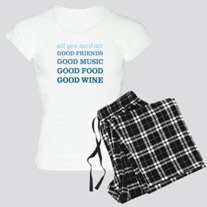Good Friends Food Wine Women's Light Pajamas