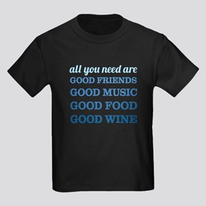 Good Friends Food Wine Kids Dark T-Shirt