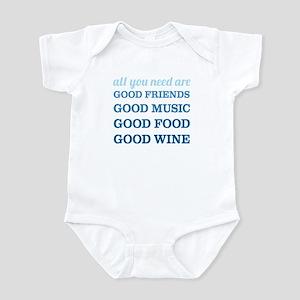 Good Friends Food Wine Infant Bodysuit