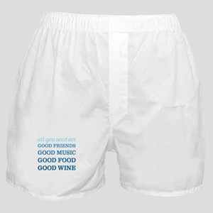 Good Friends Food Wine Boxer Shorts