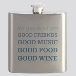 Good Friends Food Wine Flask