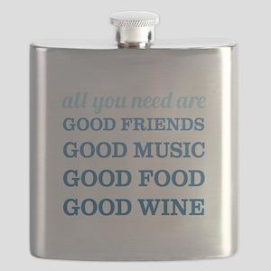 Good Friends Food Wine Flask
