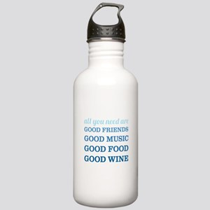 Good Friends Food Wine Stainless Water Bottle 1.0L