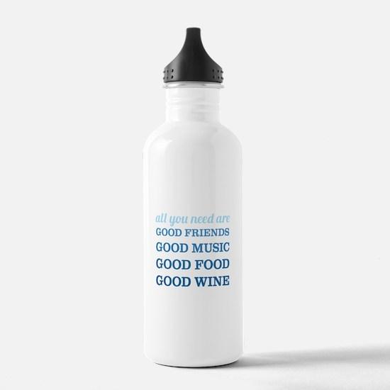 Good Friends Food Wine Water Bottle