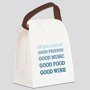 Good Friends Food Wine Canvas Lunch Bag