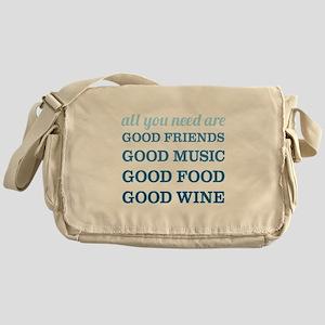 Good Friends Food Wine Messenger Bag