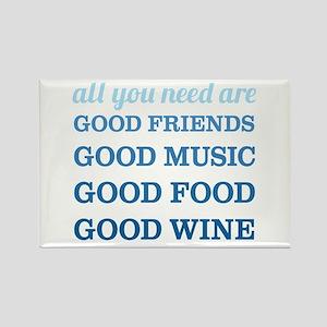 Good Friends Food Wine Rectangle Magnet
