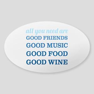 Good Friends Food Wine Sticker (Oval)